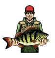 vintage fishing colorful concept vector image vector image