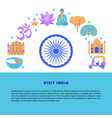 visit india concept banner in flat style vector image vector image