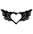 white abstract flying heart with black wings vector image vector image