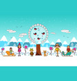 winter boys and girls flat cartoon vector image