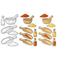wooden mortar pestle scoop and glass bottle vector image
