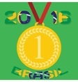 Gold medal with inscription in Portuguese and vector image