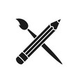 art brush and pencil crossed icon flat design vector image vector image