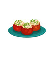 baked tomatoes stuffed with rice appetizing vector image vector image