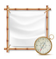 bamboo frame and metal compass summer vector image vector image
