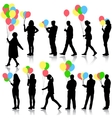 Black silhouettes of beautiful mans with balloons vector image