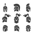 black spartan helmet set images vector image