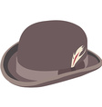 Brown bowler hat with feather vector image vector image