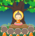 Buddha sitting on lotus flower under Bodhi tree vector image