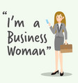 business character woman with briefcase vector image vector image