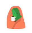 cactus cartoon character caught a cold with cup of vector image