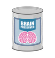 Canned brains Tin with brain food for mind vector image vector image