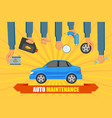 car service poster with hand holding tools vector image vector image
