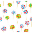 caramel striped candies on sticks seamless pattern vector image