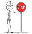 cartoon construction worker holding red stop vector image vector image
