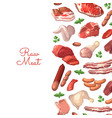 cartoon meat elements background vector image vector image