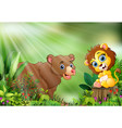 cartoon of the nature scene with a baby lion sitti vector image vector image