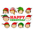 Christmas card design with people wearing party vector image vector image