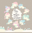 collection of funny unicorn on gray winter vector image