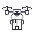 drone logistics line icon sign vector image vector image