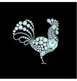 Elegant rooster diamond composition vector image