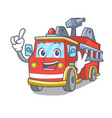 finger fire truck mascot cartoon vector image vector image