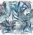 floral fashion tropical pattern with palm leaves vector image