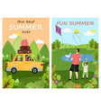 fun summer and best summertime posters vector image