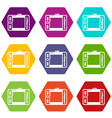 graphic tablet icons set 9 vector image