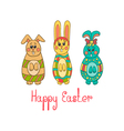 Greeting card with Easter bunny-2 vector image vector image