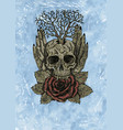 grunge watercolor of creepy skull vector image vector image