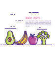 healthy food lifestyle icons vector image