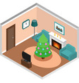 isometric living room interior with christmas vector image
