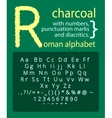 Latin charcoal alphabet on blackboard vector image