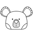 line cute bear head wild animal vector image vector image