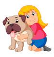 little girl is hugging dog vector image