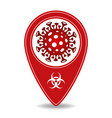 map pointer with novel corona virus symbol vector image