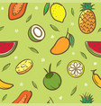 mix tropical fruits seamless pattern background vector image