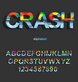 modern color crash font design for typography vector image vector image
