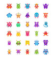 monster characters flat icons vector image vector image