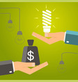 one hand holding idea light bulb and other hand vector image