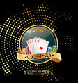 poker casino banner with chips and cards vector image vector image