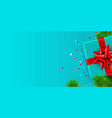 present box with red ribbon and christmas tree vector image vector image