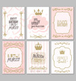 princess borders cute girl party invitation vector image