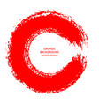 red ink round brush stroke on white background of vector image