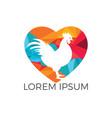 rooster heart shape logo design vector image vector image