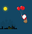santa claus flying with red balloon vector image vector image