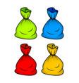santa money bag christmas empty sack icon set vector image