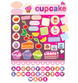 Scrapbook elements with cupcakes vector image