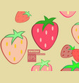 seamless pattern watercolor strawberries vector image vector image